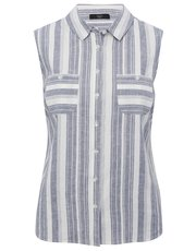 Petite sleeveless stripe linen blend shirt
