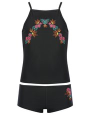 Teens' floral embroidered tankini