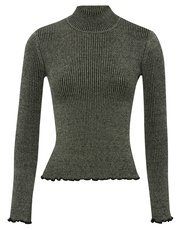 Metallic knit frill jumper