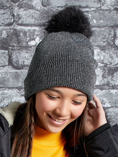 Metallic pom pom bobble hat