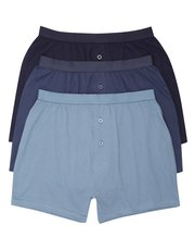 Plain button front boxers three pack