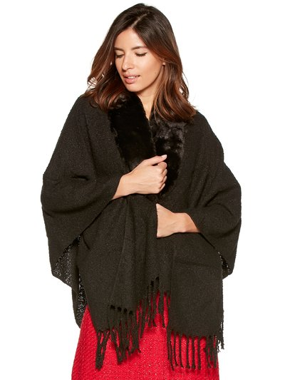 Fur trim boucle knitted wrap