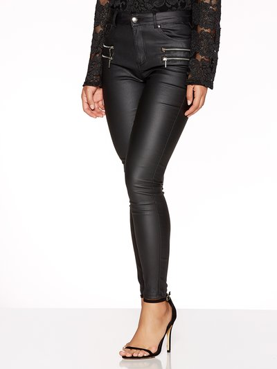 Quiz black pu zip detail high waisted skinny jeans