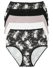 Rose print full briefs multipack