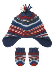 Stripe trapper hat and mitt set