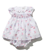 Sailboat print smock dress set