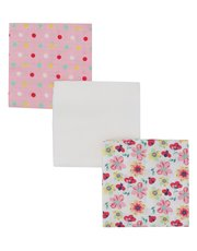 Butterfly and spot print muslin cloths three pack