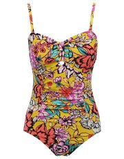 Bright floral print tummy control multiway swimsuit