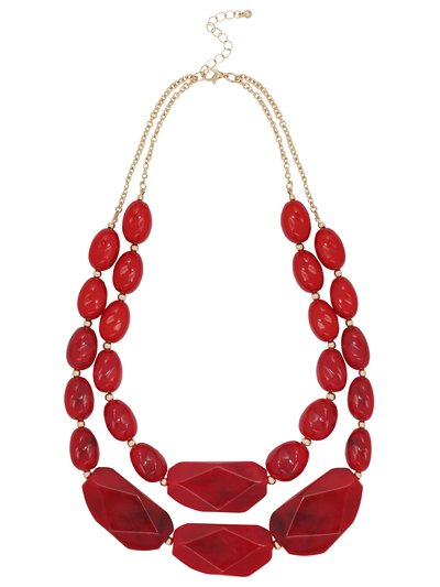 Double row red bead necklace