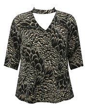 Plus feather print cut out top
