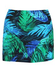 Blue palm print swim skirt