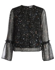 Pieces speckle tulip sleeve top