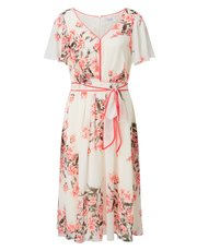 Jacques Vert contrast belt printed dress