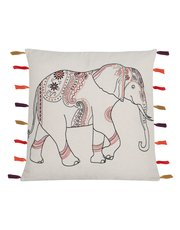 Embroidered elephant tassel cushion