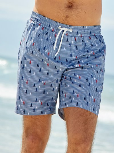 Sailboat stripe swim shorts