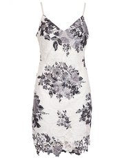 Quiz crochet floral print bodycon dress