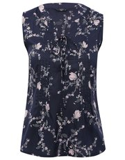 Petite floral lattice tie front top