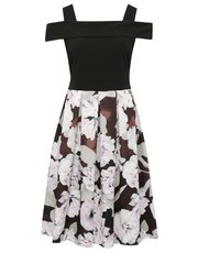Boutique floral print bardot dress