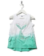 Sequin mermaid fringe vest top