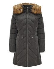 Precis Petite fur trim hooded coat