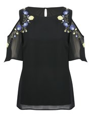 Floral embroidered cold shoulder top