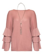 Quiz frill sleeve light knit necklace top