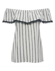 Lace trim stripe bardot top
