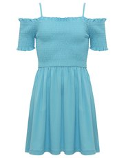 Teens' shirred cold shoulder dress