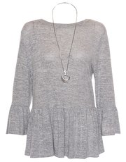 Quiz light knit ruffle sleeve necklace top