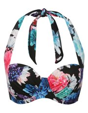 Blossom print sequin underwired bikini top