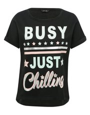 Chilling slogan pyjama top