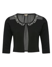 Chiffon back diamante crop cardigan