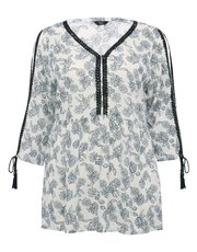 Plus floral print lace trim peasant top