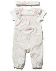 Floral t-shirt dungarees and headband set