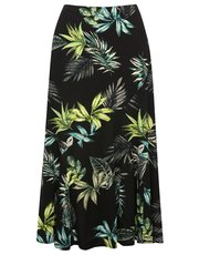 Jungle leaf print flippy skirt
