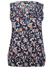 Petite sleeveless floral notch neck top