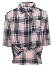 Knot front checked shirt