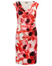 Floral print cowl neck dress