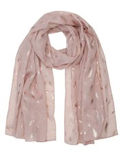 Feather foil print scarf