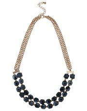 Navy cube necklace