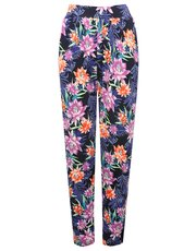 Tropical floral print harem trousers