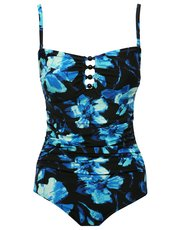 Floral rose print tummy control multiway swimsuit