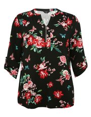 Plus floral print zip front shirt