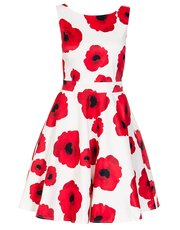 Quiz poppy print satin dress
