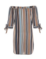 Quiz stripe bardot tunic dress