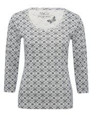Tile print scoop neck top