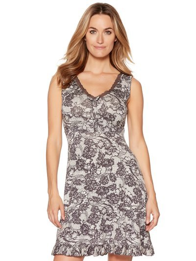 Lace print sleeveless nightdress