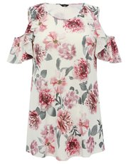 Plus floral print frill cold shoulder top