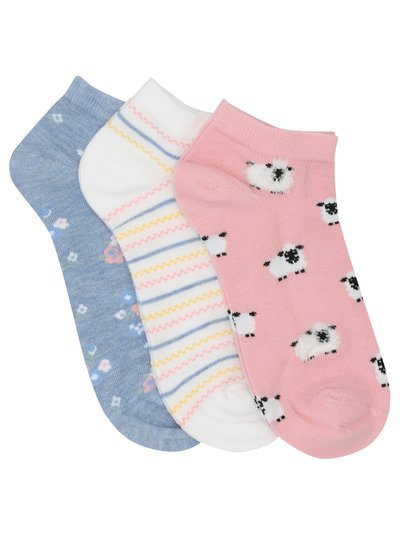 Sheep print trainer socks three pack