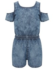 Teens' denim cold shoulder playsuit